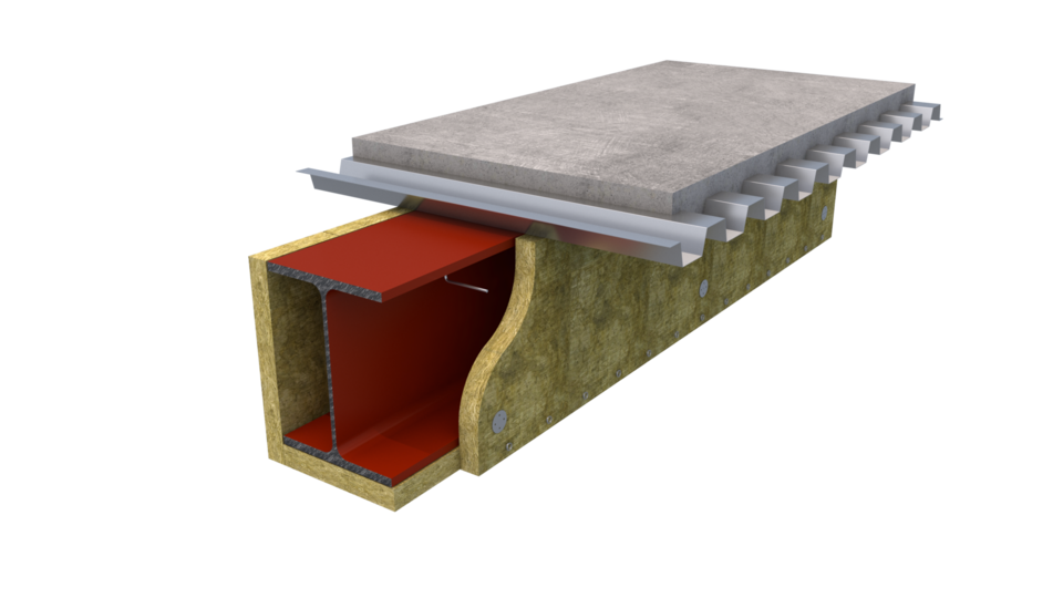 Beamclad system, fire protection