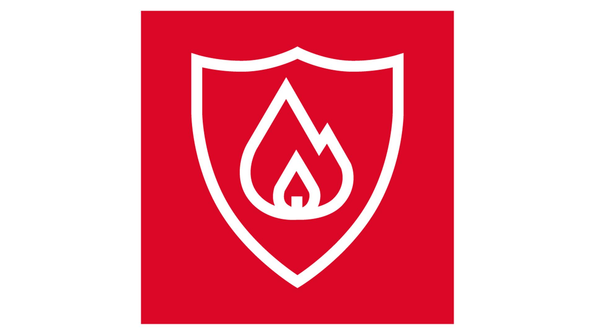 icon, 7 strenghts of stone, white on red background, for website, stärken von steinwolle, weiß auf rot, fire resistance, brandschutz, germany