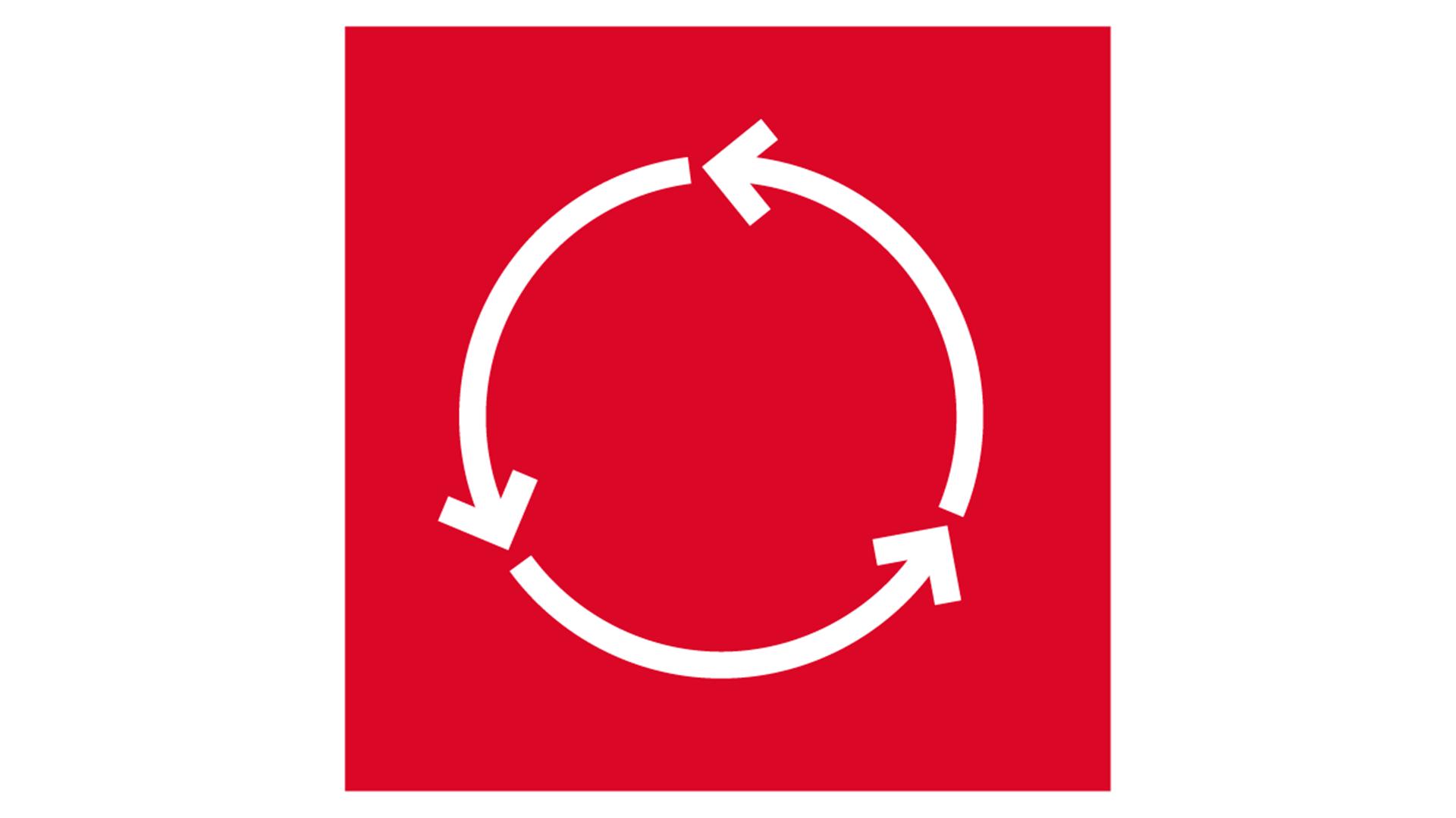 icon, 7 strenghts of stone, white on red background, for website, stärken von steinwolle, weiß auf rot, circularity, ökologie, germany