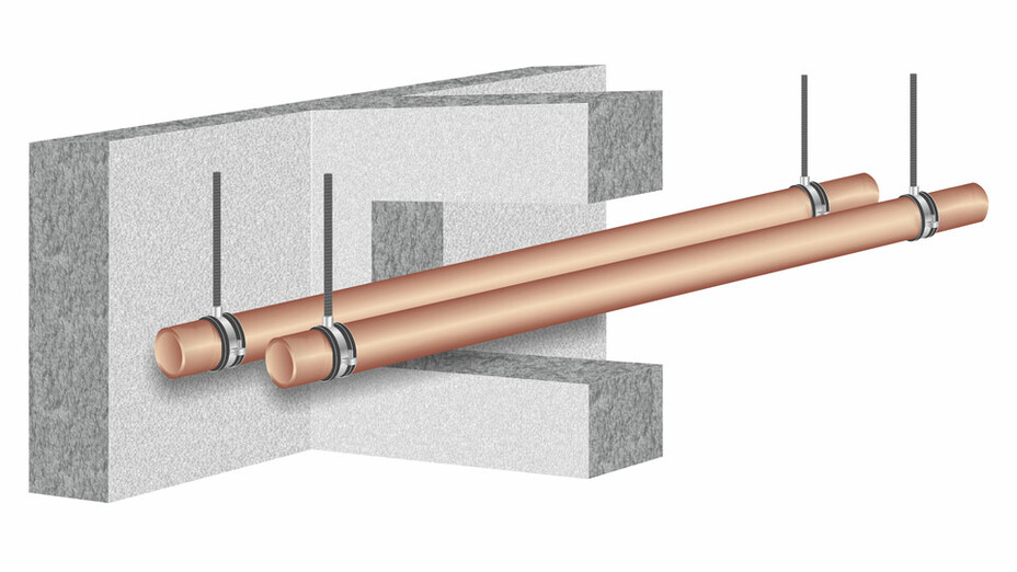illustration, construction, wall, pipe, motagevoraussetzung, hvac, pm helfer kompakt, germany