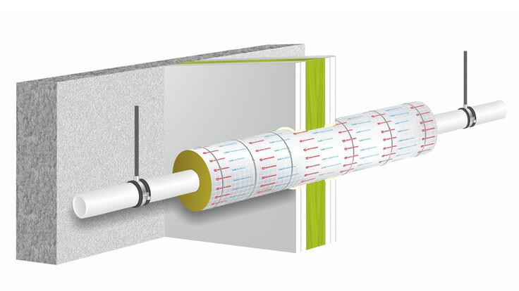 illustration, construction, wall, pipe, conlit 150 u, hvac, pm helfer kompakt, germany