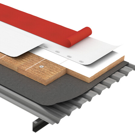 Flat roof, Solución COMBI, Metal Box, cubierta deck