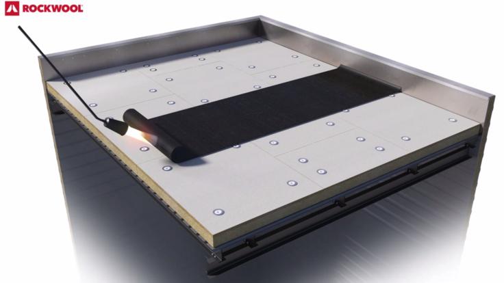 Screenshot of Rockfleece B Energy 3D video.  Flat Roof, FRI, glass fleece, Metal Box, étanchéité bitume, bitumen roof-board