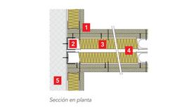 ROXUL - best practices - buenas prácticas Detalle 6: Encuentro entre tabiques de placa de yeso laminado y fachada