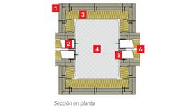 ROXUL - best practices - buenas prácticas Detalle 7: Encuentro entre tabiques de placa de yeso laminado y pilares
