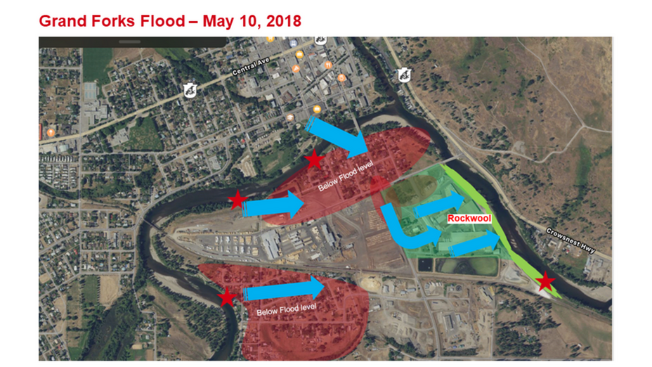 Grand Forks BC plant flooding of the city on May 10, 2018.