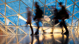 Silhouettes of People in Futuristic Interior, Blurred Motion. Blurred Motion, People, Motion, City, Night, People,  Walking, City Life, indoor