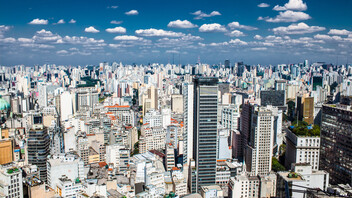 Beautiful view from Banespa skyscraper located in centre of Sao Paulo, Brazil.