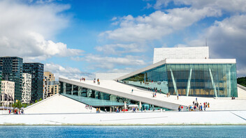 Amazing Oslo Opera House i the home of The Norwegian National Opera and Ballet, and the national opera theatre in Norway