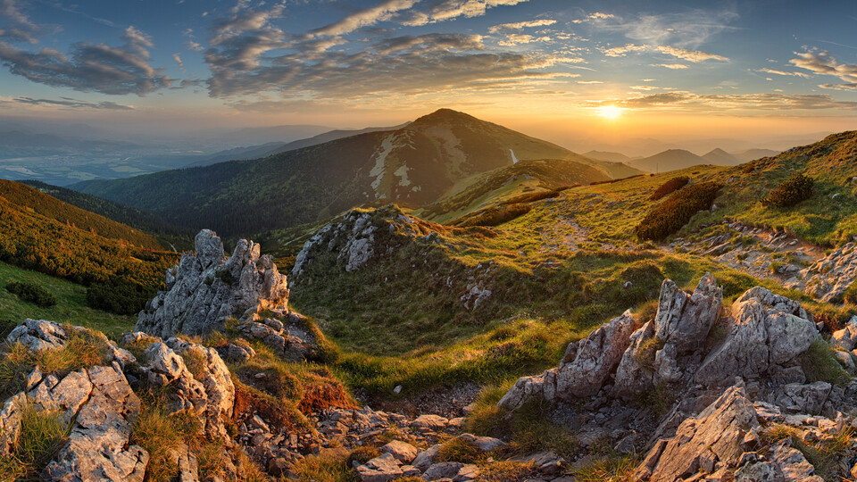 Big Picture Mountain Panorama rocky mountain at sunset in Slovakia