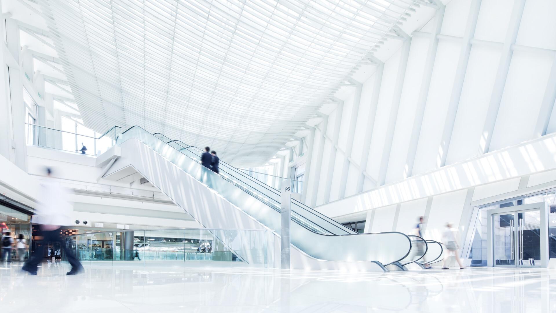 People indoor Indoor escalator. architecture, modern, office