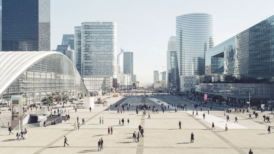Big picture outdoor High Angle View Of People On Street Amidst Modern Buildings Against Clear Sky, Publice Square, City,