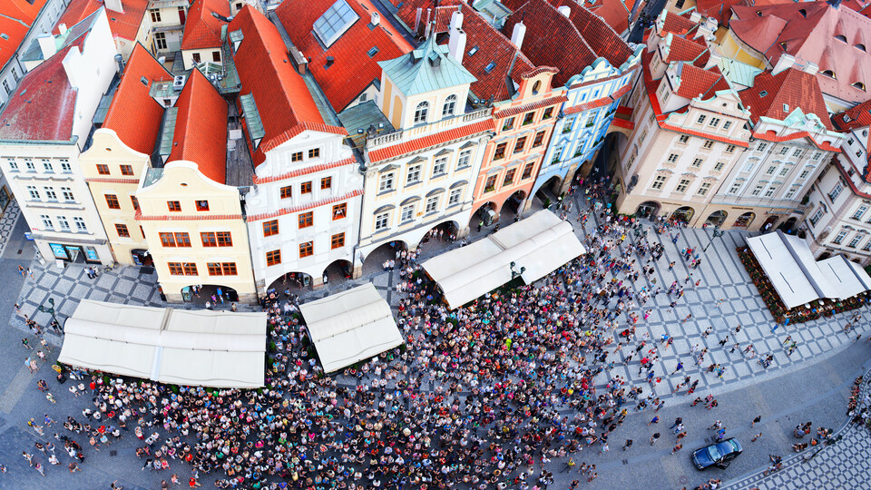 Big picture outdoor city Old Town square in Prague. People.