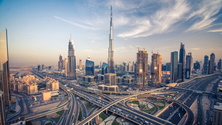 Big picture outdoor city Dubai skyline and it's busiest highway