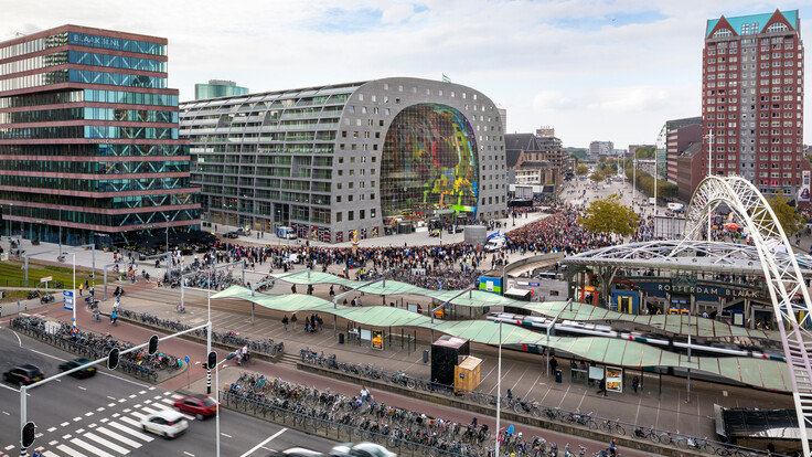 NL-Markthal 20141006 Markthal, Rotterdam, the Netherlands, MVRDV, Pennings Akoestiek, ROCKFON Mono Acoustic, Dark grey