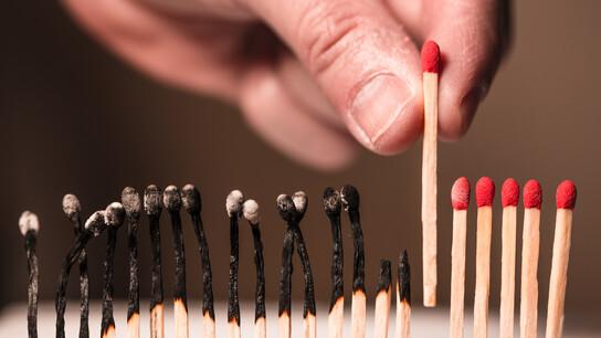 Matches, burned,