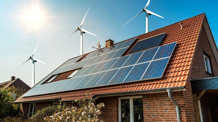 solar panel, hellend dak, wind mill, wind power