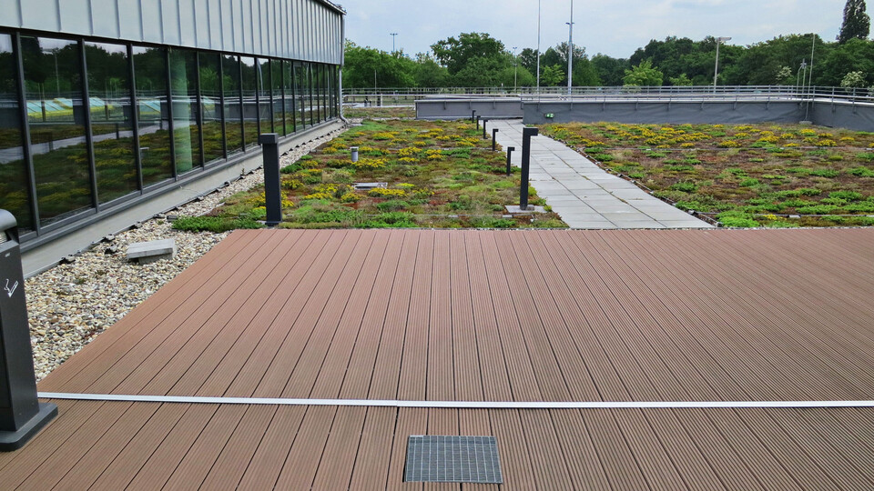 flatroof, flat roof, higher stressed flat roof, roof terrace, megarock, germany