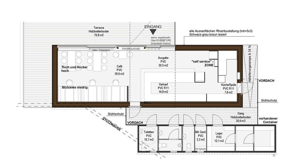reference, resch & frisch jausnerei, construction plan, wels, austria