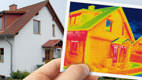 thermogram, thermogram picture of house, thermogram picture in front of house, germany