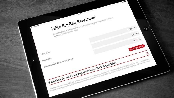 Big Bag Berechner, Teaser, Vorschaubild, Thumbnail, iPad, Recycling, Tool, Calculizer, Rockcycle, Germany