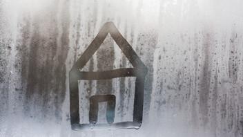 hand draw on glass and water drop, humidity on window, moist window, austria