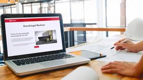 tool, brandriegel-rechner, teaser, teaser image, thumb, thumbnail, cladded facade, laptop, office, specifier, vhf, vorgehängte hinterlüftete fassade, germany