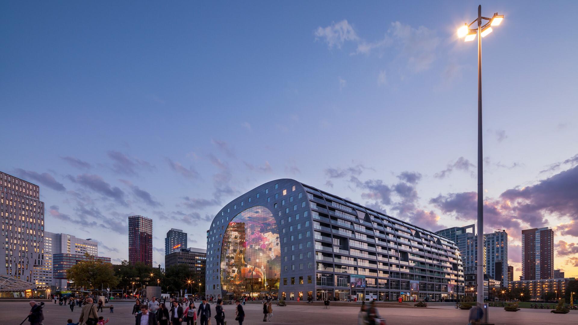 NL-Markthal 20141010 Markthal, Rotterdam, the Netherlands, MVRDV, Pennings Akoestiek, ROCKFON Mono Acoustic, Dark grey