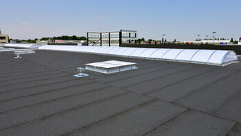 Flat roof, FRI, Metal Box, étanchéité bitume, bitumen roof-board, Rockfleece B Energy