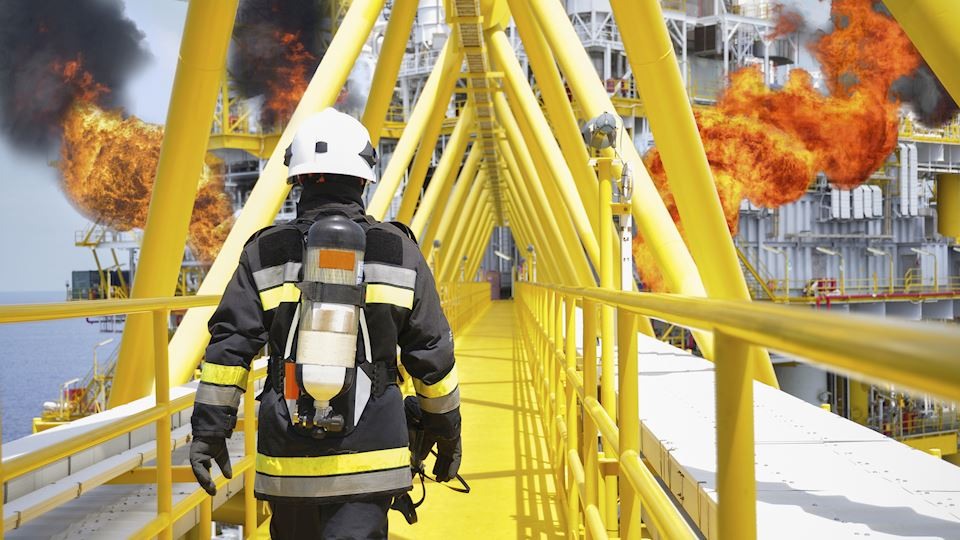 coatings, fireman, firefighter, walking, oil rig, fire