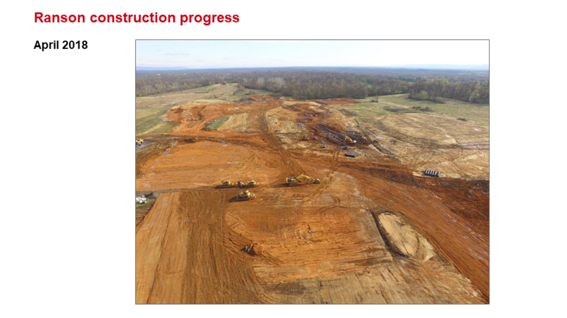 ROCKWOOL Ranson (Jefferson County) WV Construction Progress April 2018.