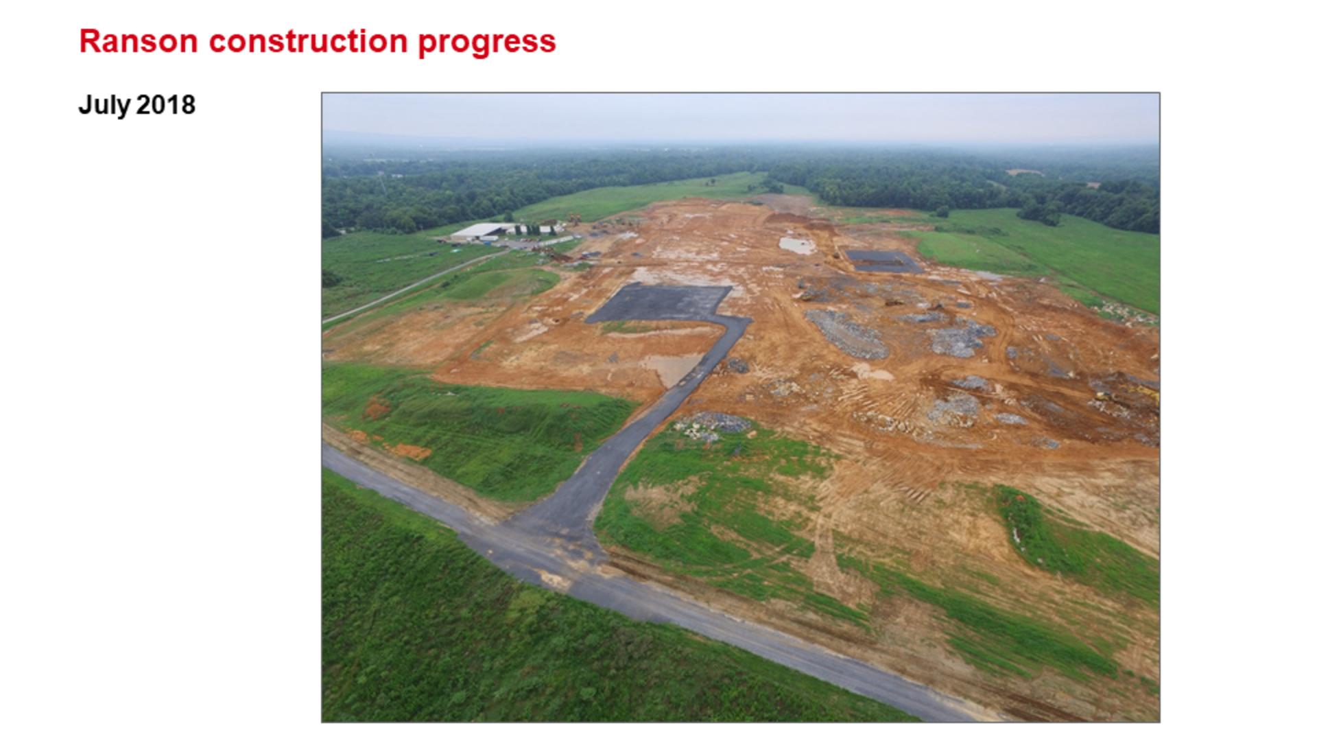 ROCKWOOL Ranson (Jefferson County) WV Construction Progress July 2018.