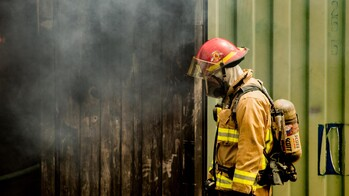 article illustration, free pic, unsplash.com, fireman, fire, smoke, oxygen mask