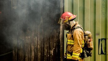 article illustration, free pic, unsplash.com, fireman, fire, smoke, oxygen mask