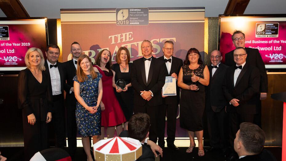 Bridgend Business Forum Awards, Winners, ROCKWOOL UK, Darryl Matthews, Kathryn James, Trophy, Award Ceremony, Wales