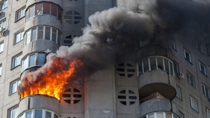Fire, Building, City,