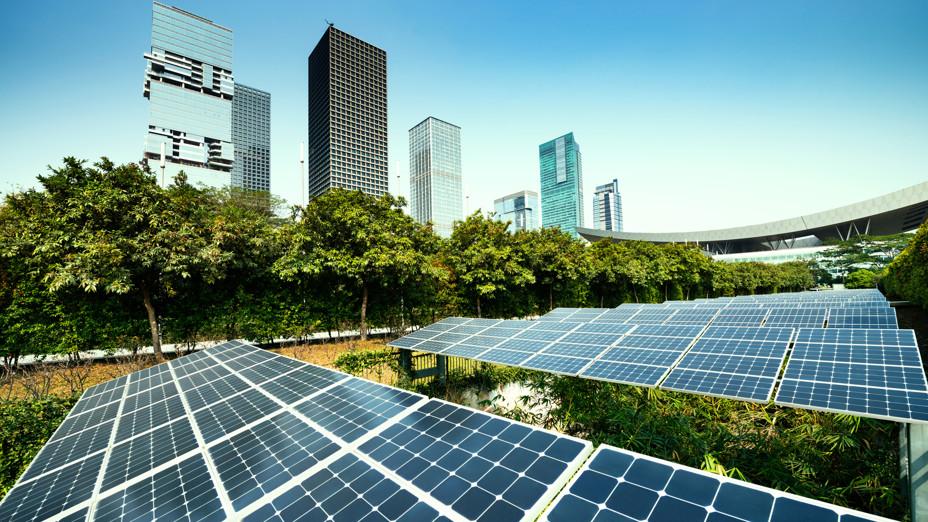 Solar panels, Greenery, Urban, City, Sustainable energy