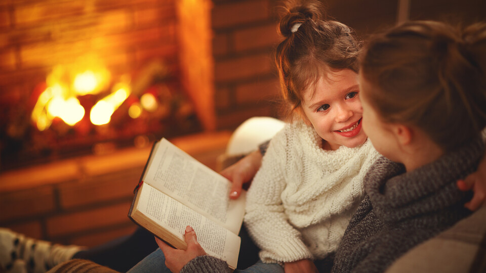 People, Humans, Parent, Child, Fireplace, Home