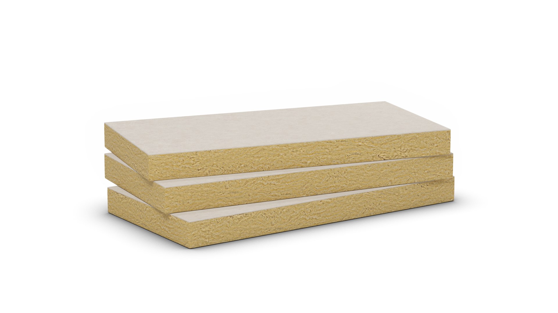 Mono density stone wool slab with white fleece. Products: Ceilingrock, Cosmos B