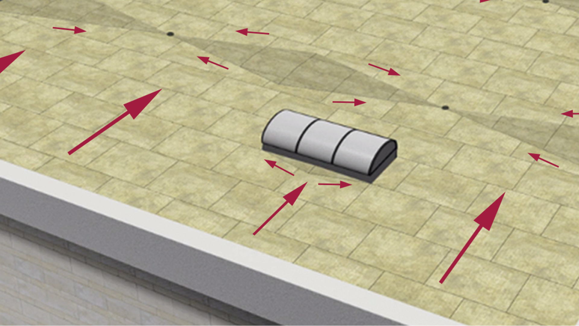 Rockfall system for flat roofs - slopes and declines.