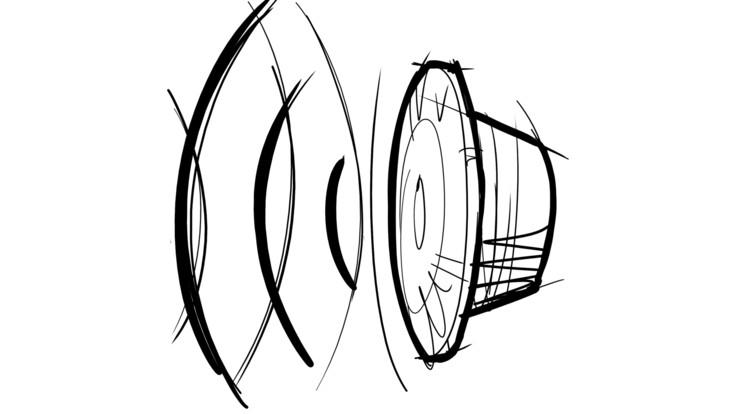 Speaker sketch - large Speaker, sound, noise